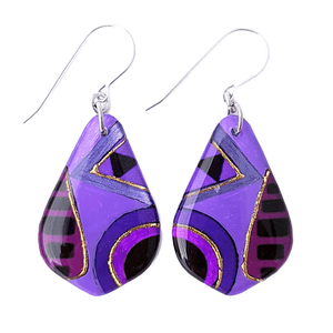Purple Aztec Teardrop Earrings | Shapes