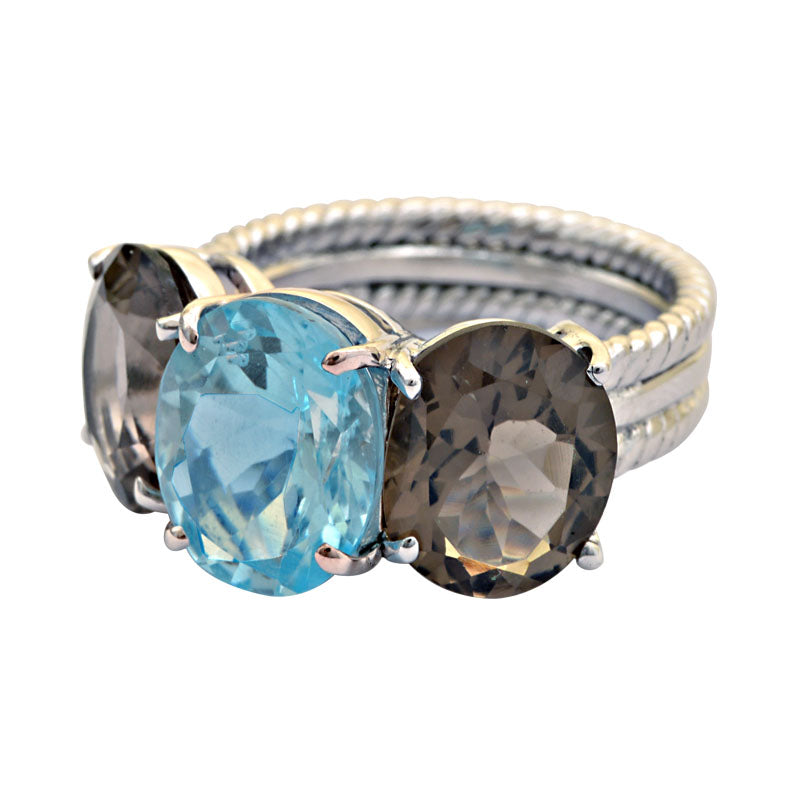 Ring-Blue Topaz and Smokey Quartz