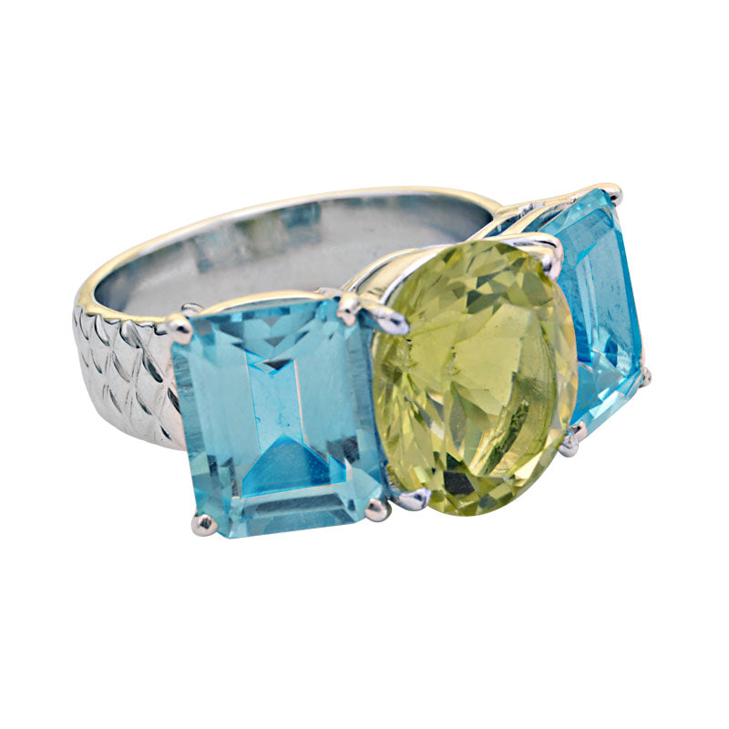 Ring-Blue Topaz and Lemon Quartz