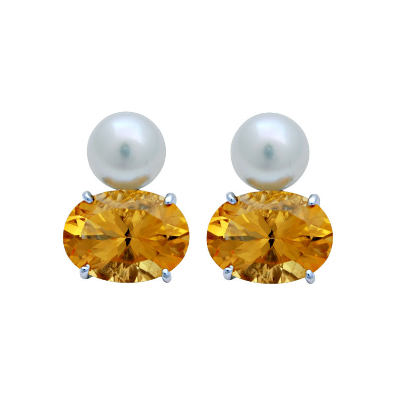 Earrings-South Sea Pearl and Citrine