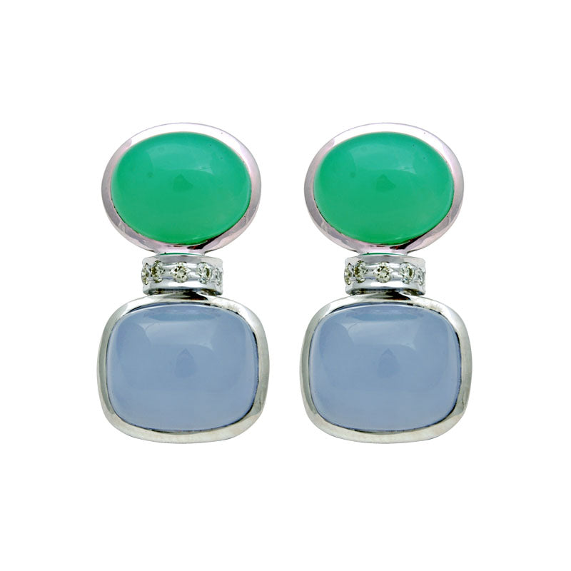 Earrings-Chrysoprase, Chalcedony and Diamond