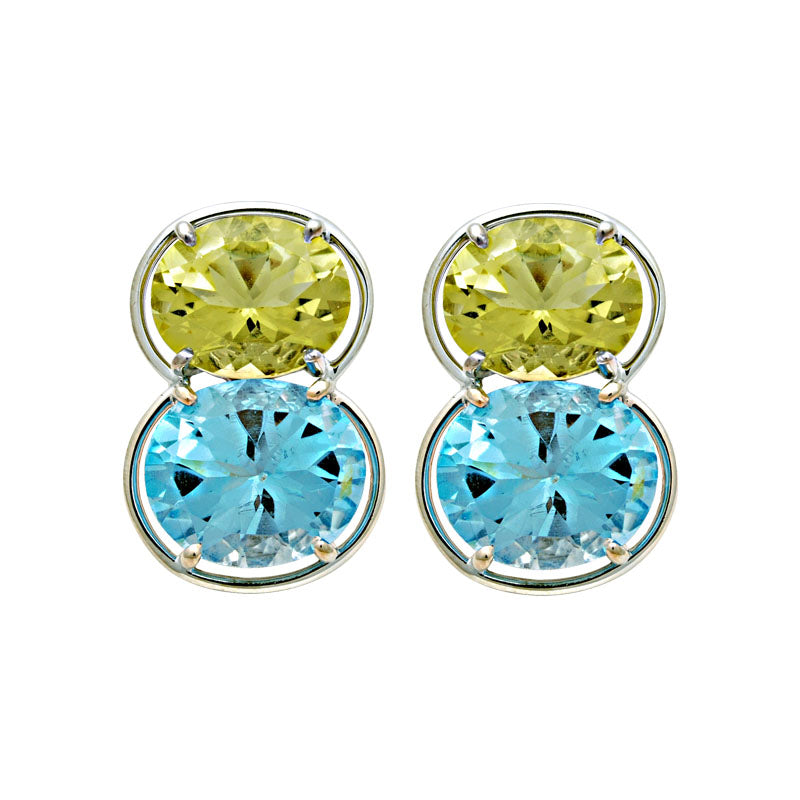 Earrings-Lemon Quartz and Blue Topaz