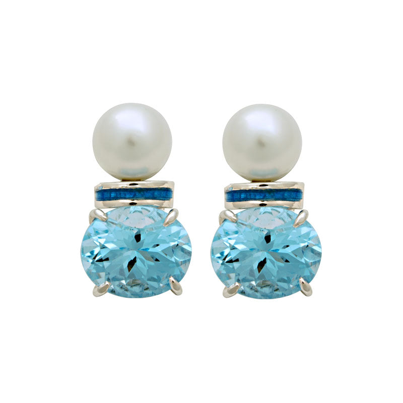 Earrings-South Sea Pearl and Blue Topaz (Enamel)