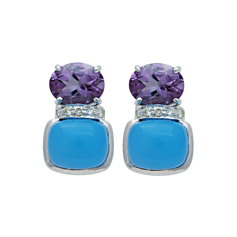 Earrings-Amethyst, Chalcedony and Diamond