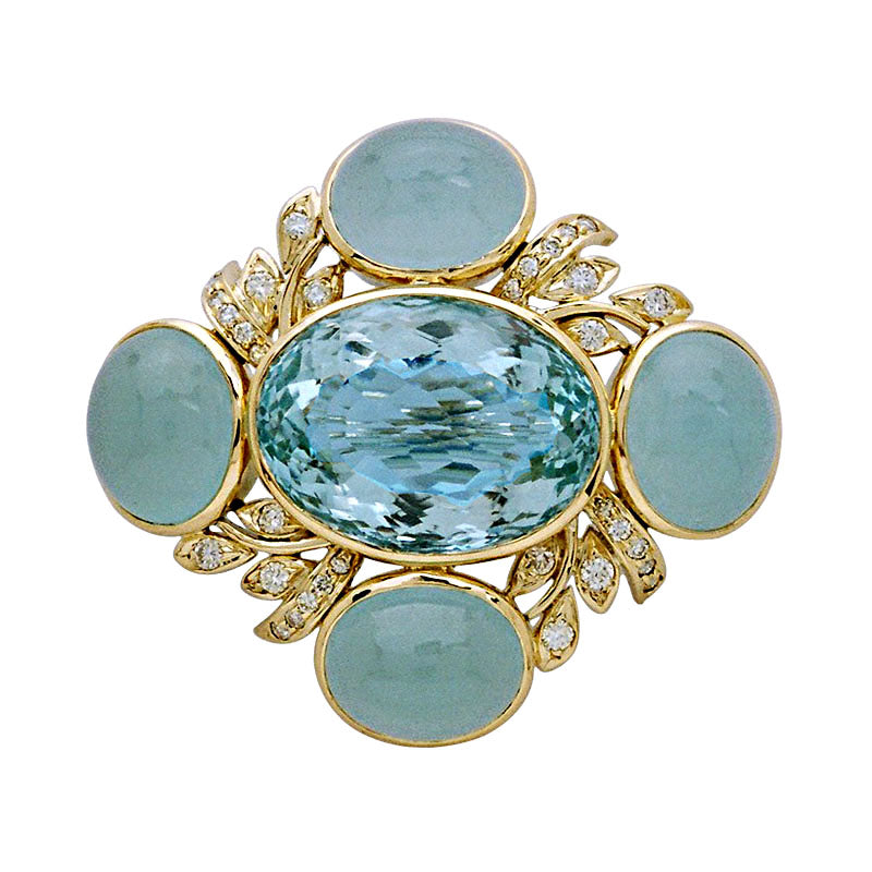 Brooch-Aquamarine and Diamond