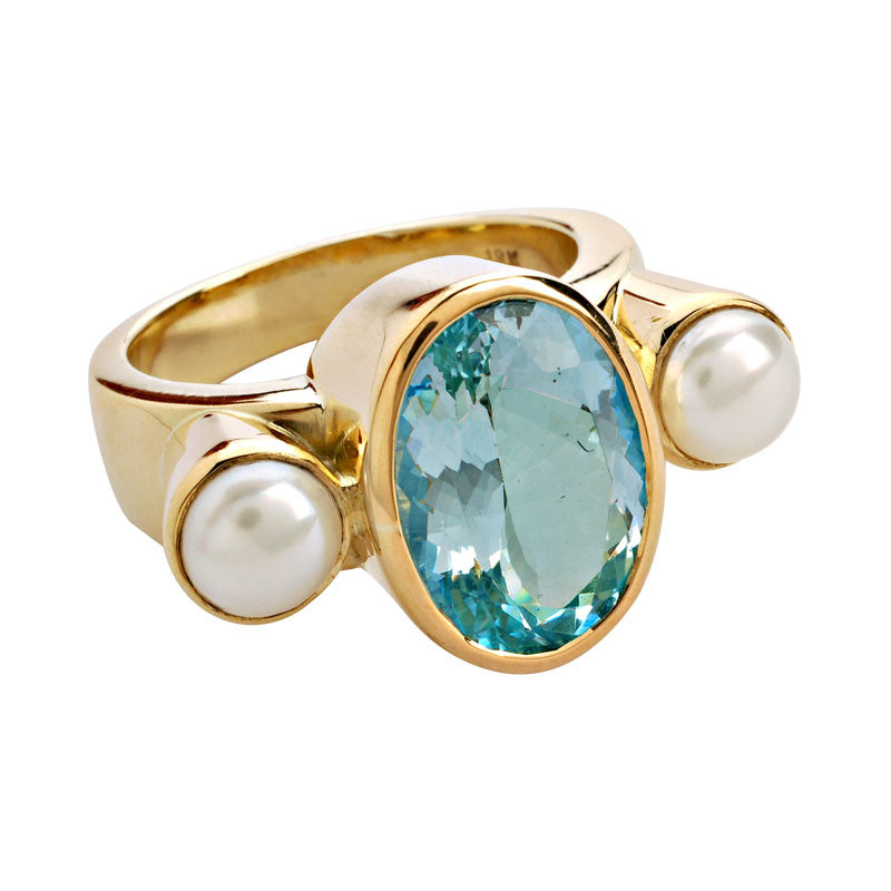 Ring-Aquamarine and Pearl