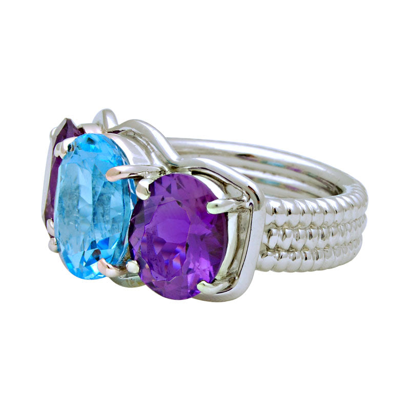 Ring-Blue Topaz and Amethyst