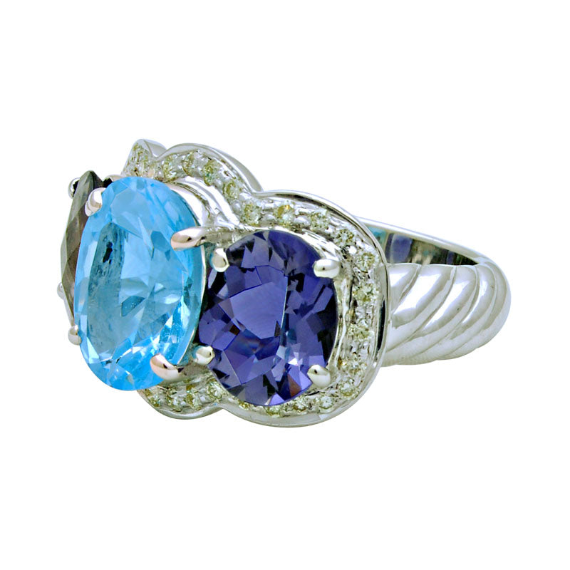 Ring-Blue Topaz, Iolite and Diamond