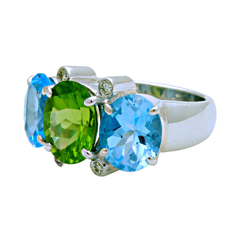 Ring-Peridot, Blue Topaz and Diamond
