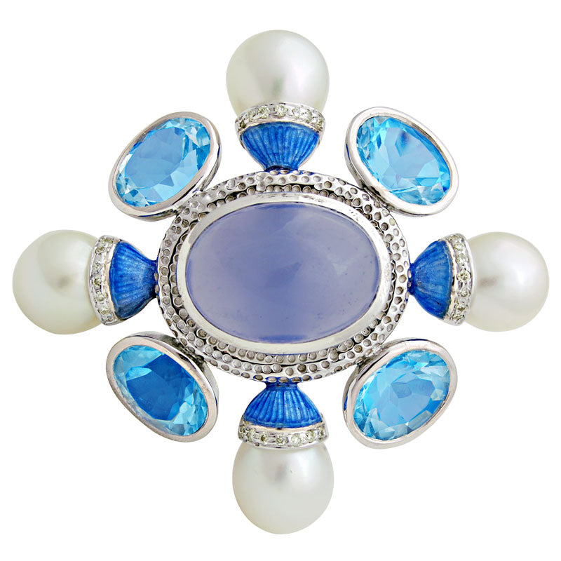 Brooch-Chalcedony, Blue Topaz, South Sea Pearl and Diamond (Enamel)