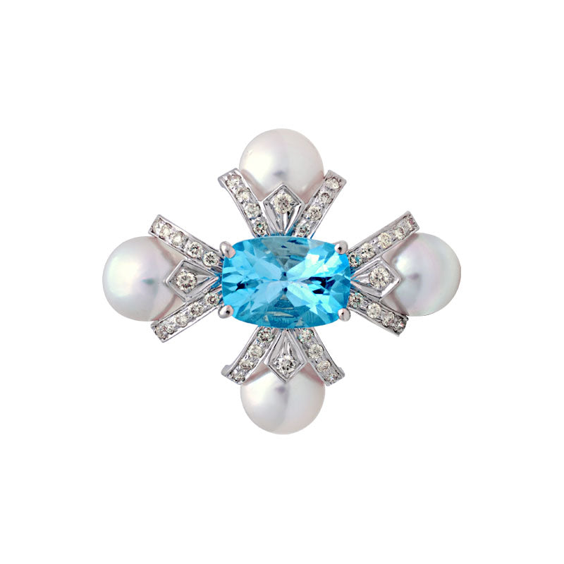Brooch-Blue Topaz, South Sea Pearl and Diamond