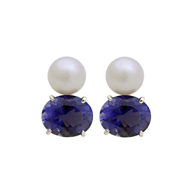 Earrings-Iolite and South Sea Pearl