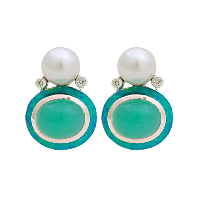 Earrings-Chrysoprase, South Sea Pearl and Diamond (Enamel)