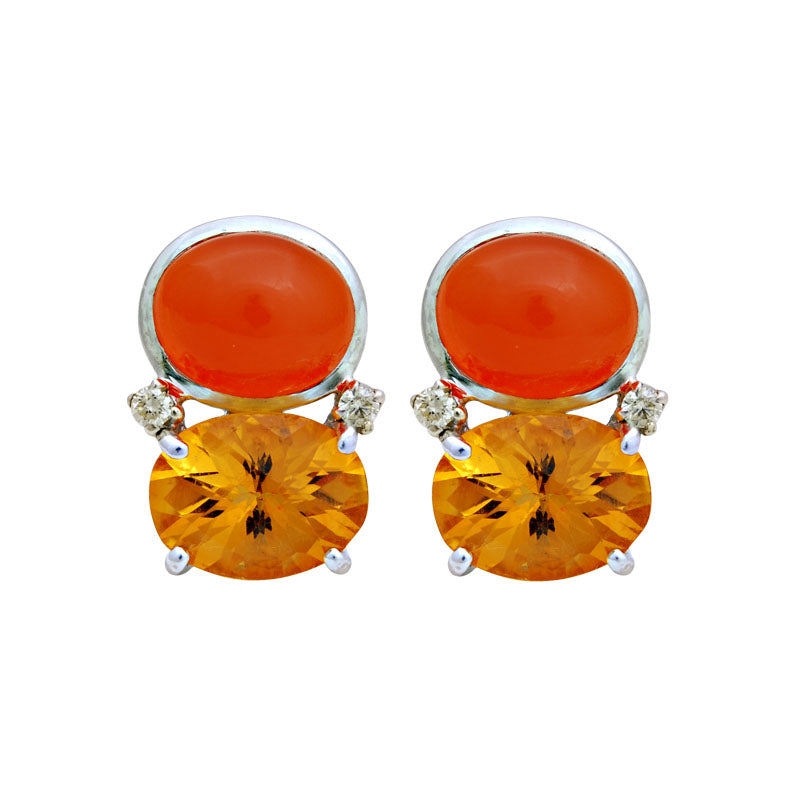 Earrings-Citrine, Cornelian and Diamond