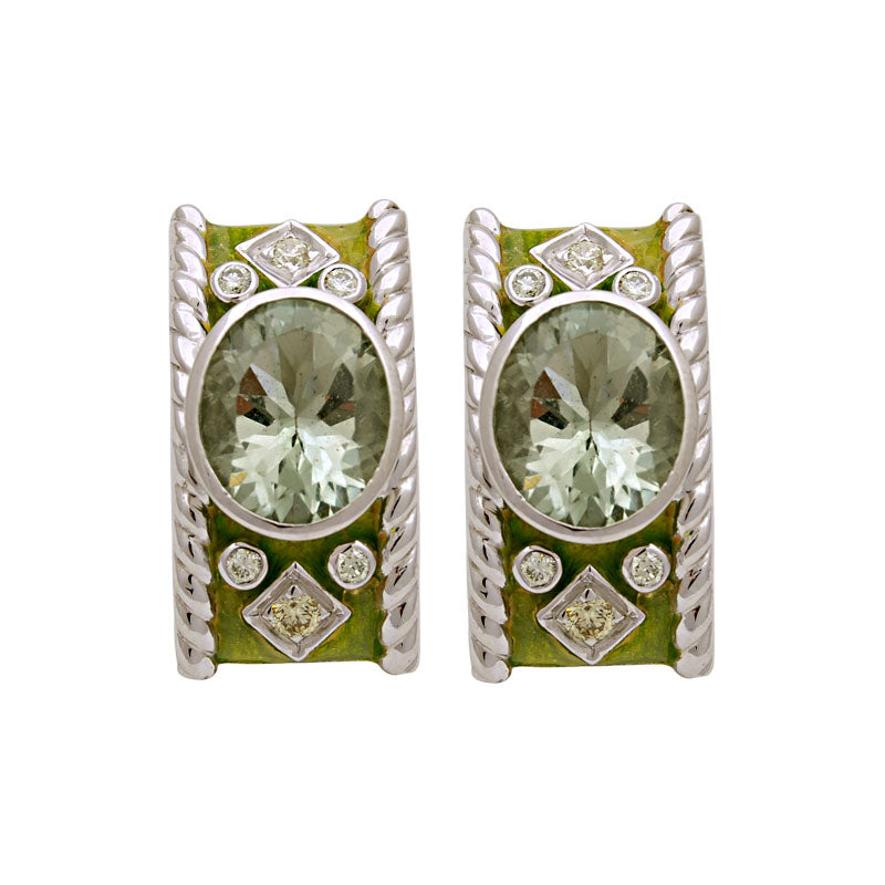 Earrings-Green Quartz and Diamond (Enamel)