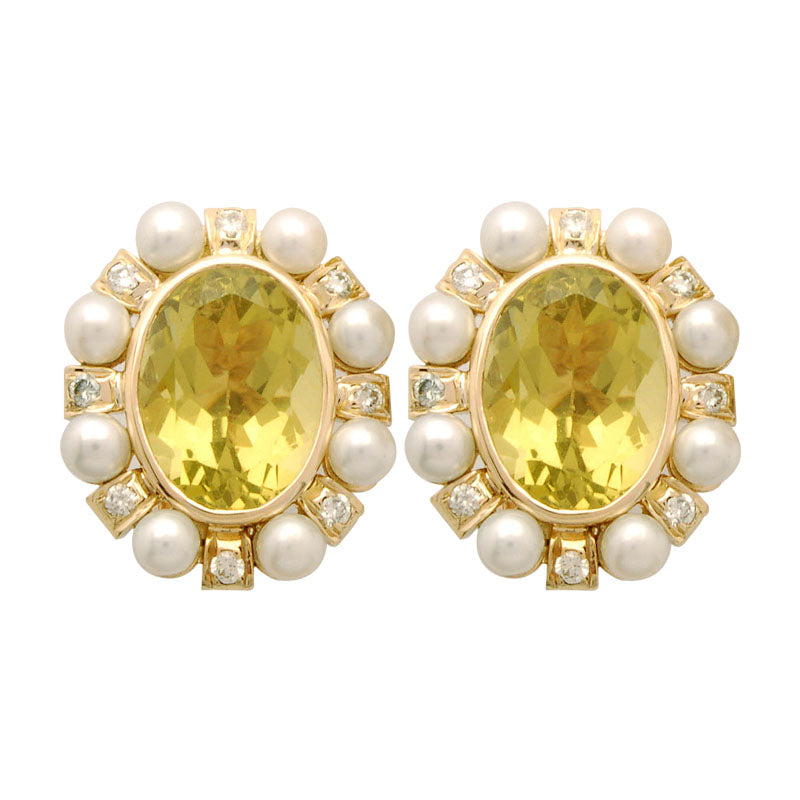 Earrings-Lemon Quartz, Pearl and Diamond