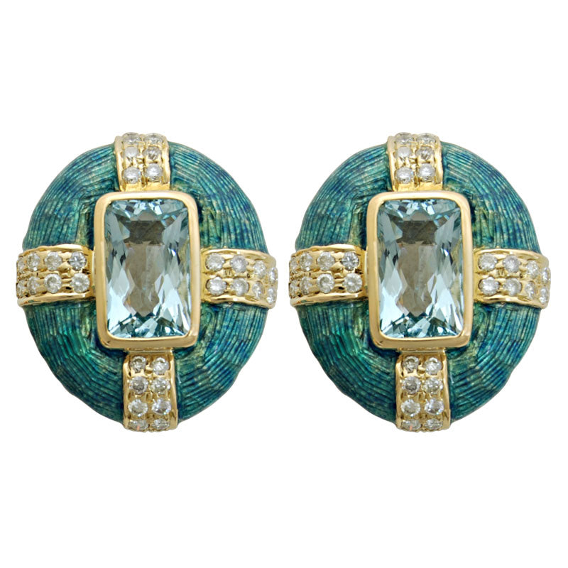 Earrings-Aquamarine and Diamond (Enamel)