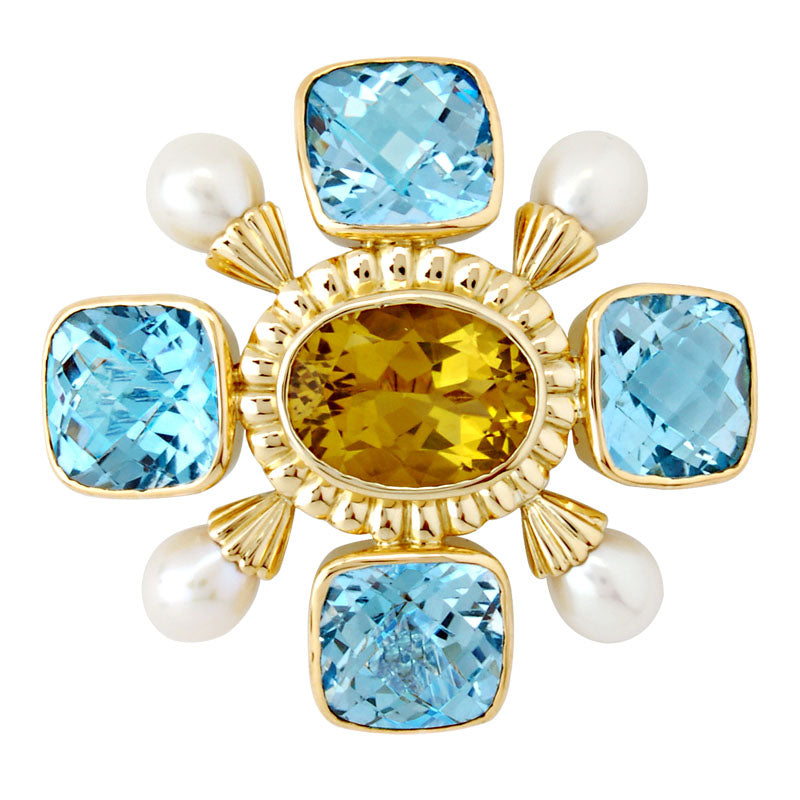 Brooch-Lemon Quartz, Blue Topaz and Pearl