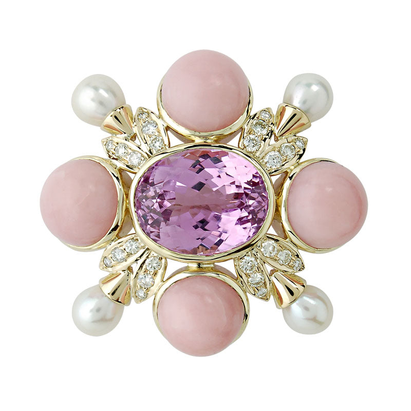 Brooch-Kunzite, Pink Opal, Pearl and Diamond