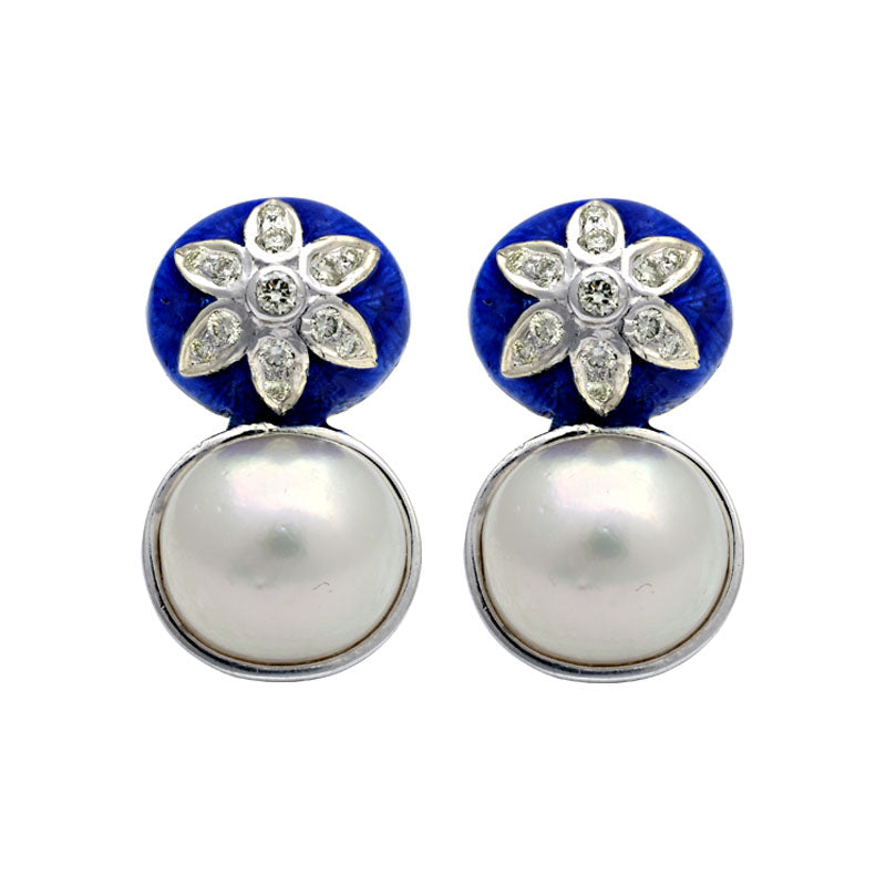 Earrings-Diamond and South Sea Pearl (Enamel)