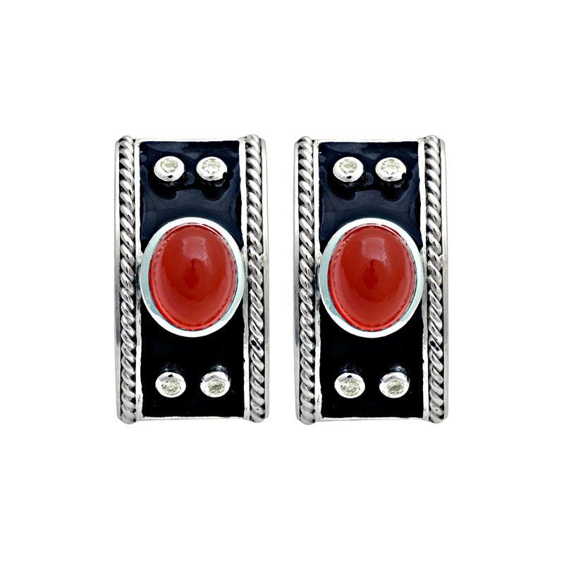 Earrings-Cornelian and Diamond (Enamel)