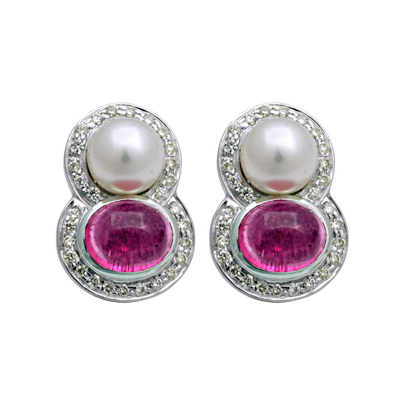 Earrings-Rubellite, South Sea Pearl and Diamond