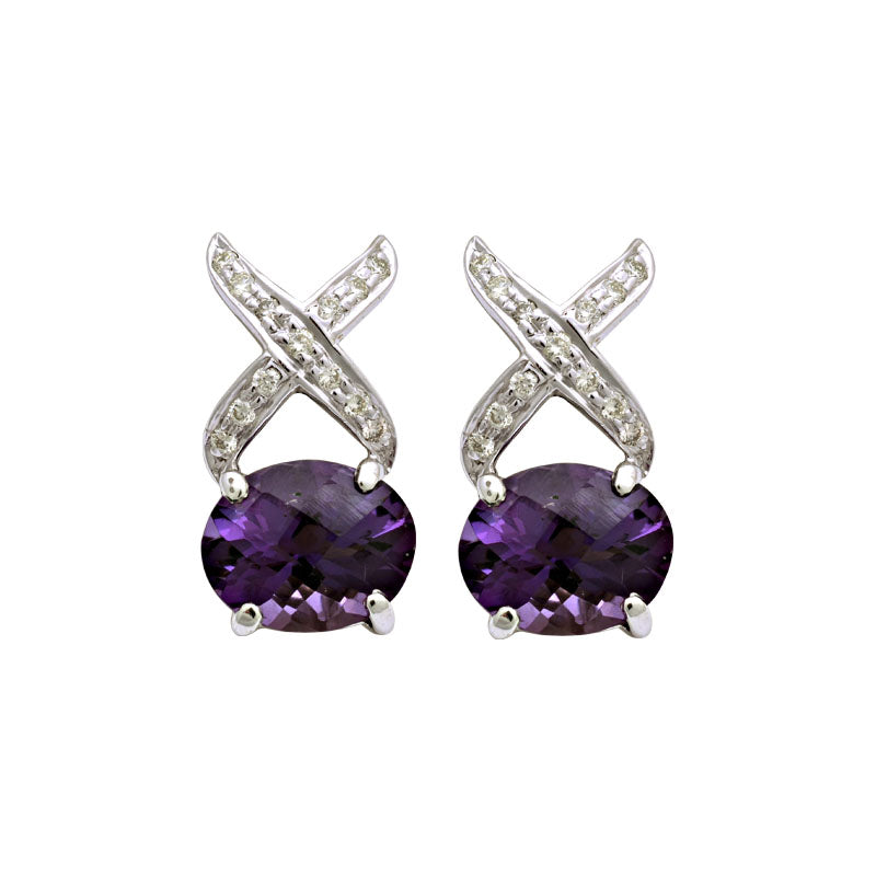 Earrings-Amethyst and Diamond