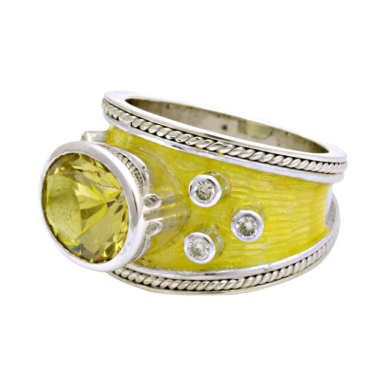 Ring-Lemon Quartz and Diamond (Enamel)