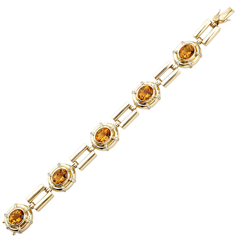 Bracelet-Citrine and Diamond