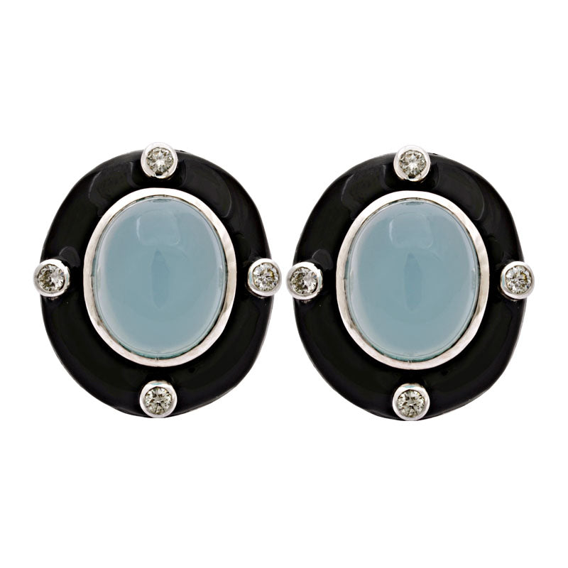 Earrings-Chalcedony and Diamond (Enamel)