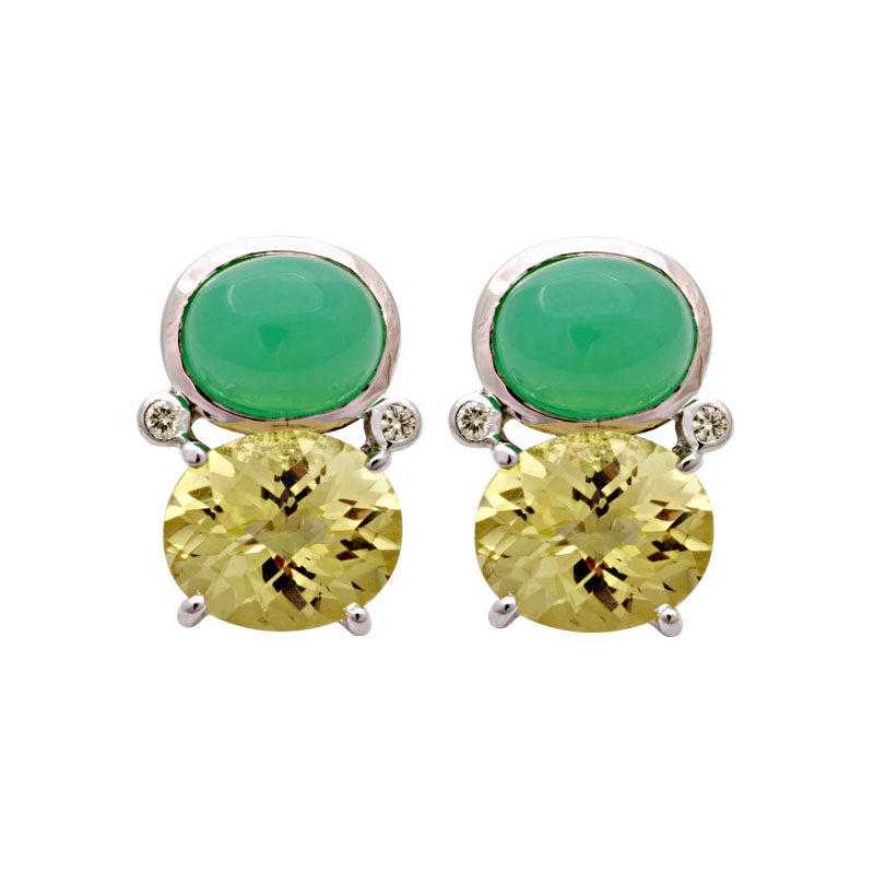Earrings-Chrysoprase, Lemon Quartz and Diamond
