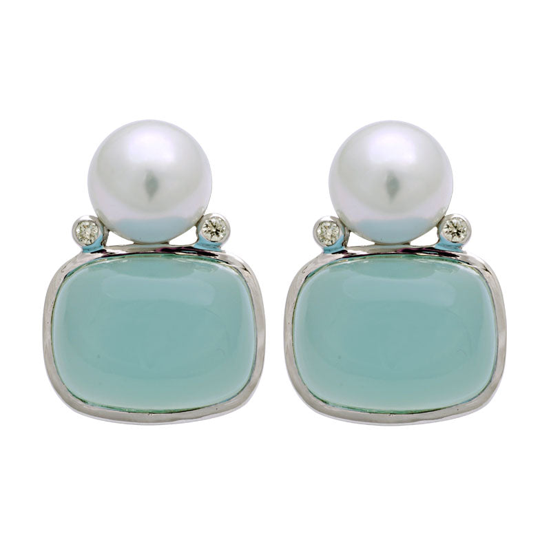 Earrings-Chalcedony, South Sea Pearl and Diamond