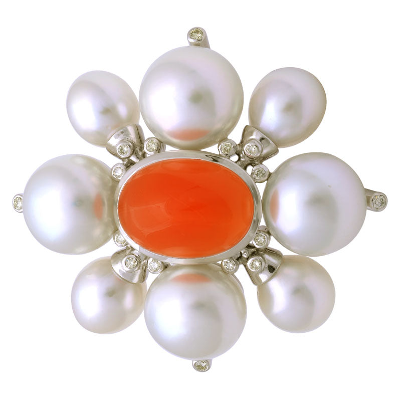 Brooch-Cornelian, South Sea Pearl and Diamond