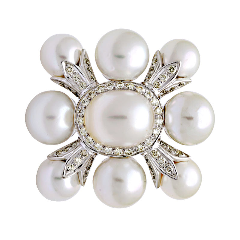 Brooch-South Sea Pearl and Diamond