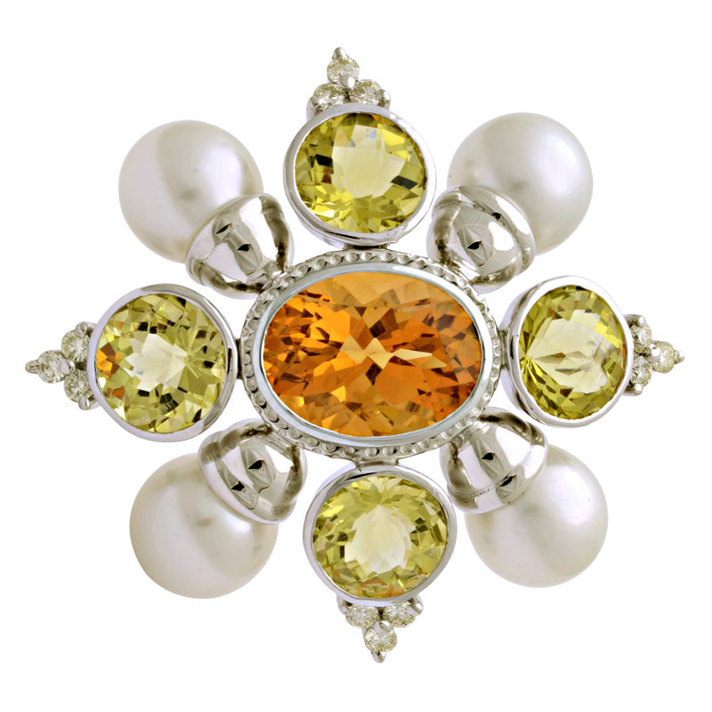 Brooch-Citrine, Lemon Quartz, South Sea Pearl and Diamond