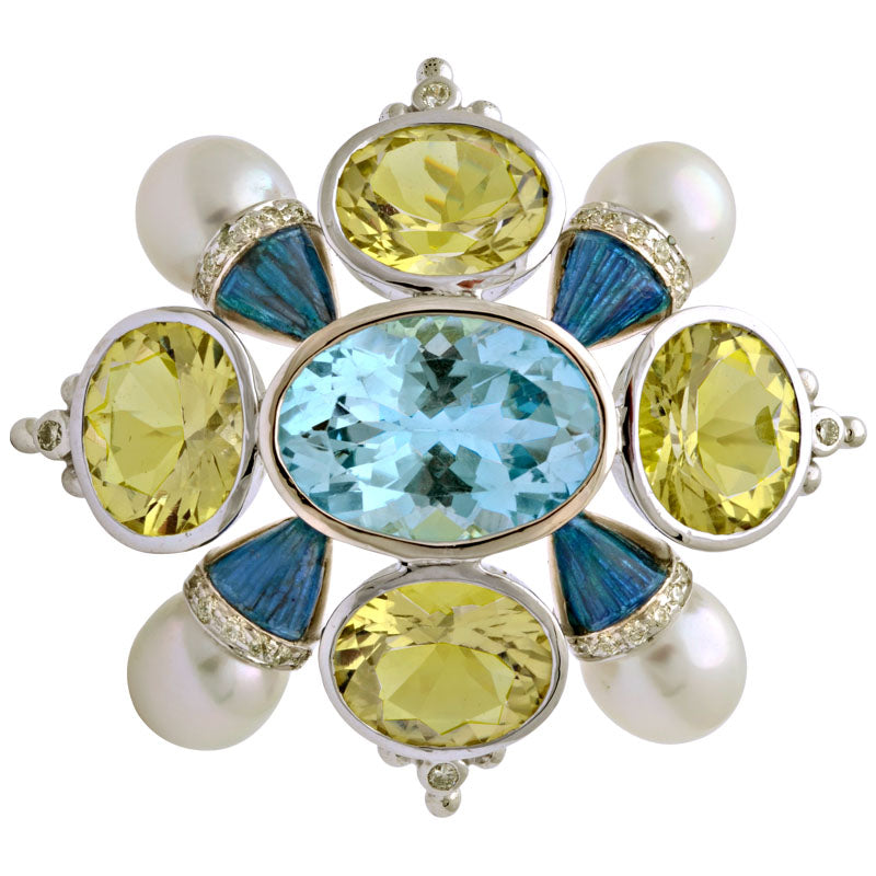 Brooch-Blue Topaz, Lemon Quartz, South Sea Pearl and Diamond (Enamel)