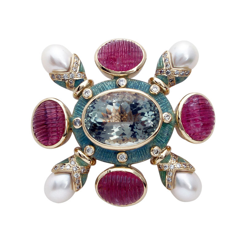 Brooch-Green Quartz, Rubellite, Pearl and Diamond (Enamel)