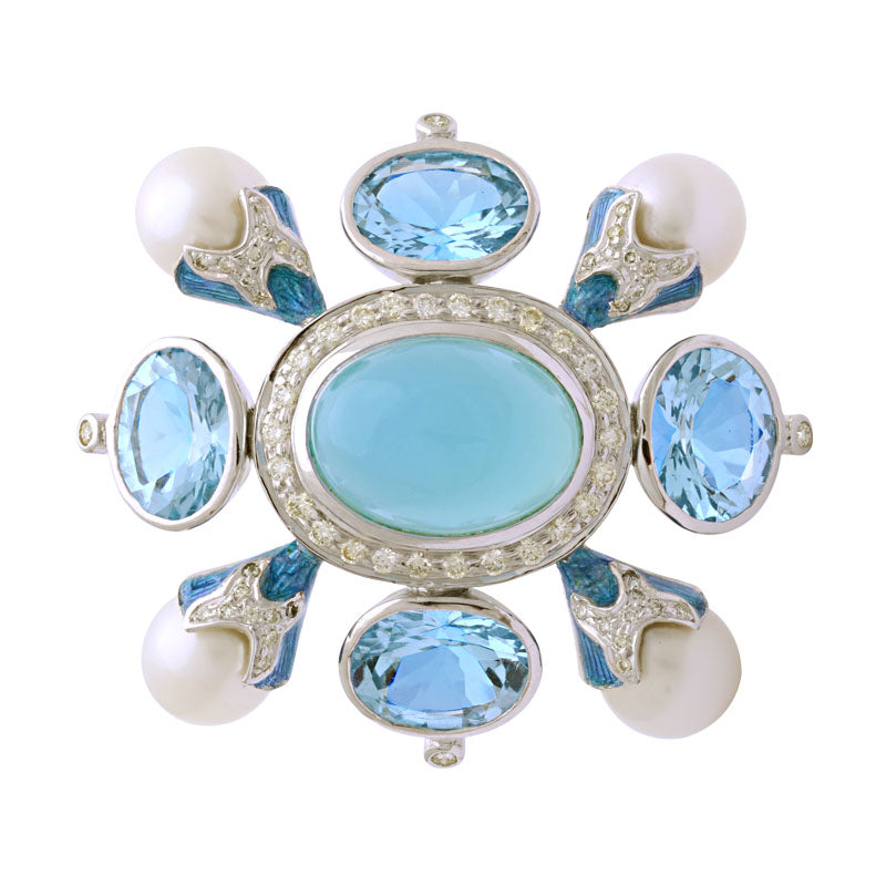 Brooch-Chalcedony, B. Topaz, South Sea Pearl and Diamond (Enamel)