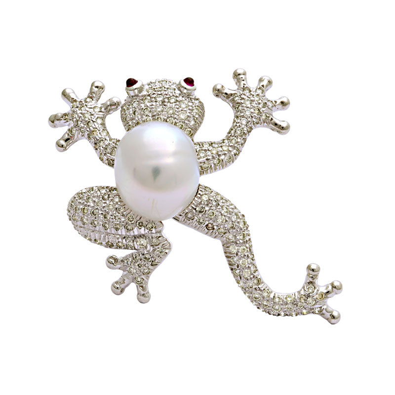 Brooch-Ruby, South Sea Pearl and Diamond