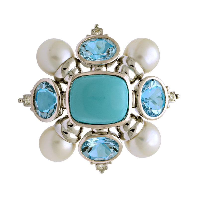 Brooch-Turquoise, Blue Topaz, South Sea Pearl and Diamond