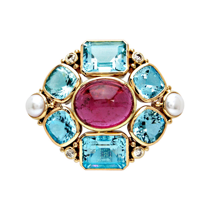 Brooch-Aquamarine, Rubellite, Pearl and Diamond