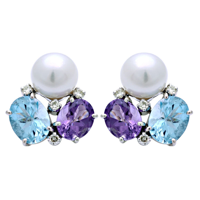 Earrings-Amethyst, Blue Topaz, South Sea Pearl and Diamond