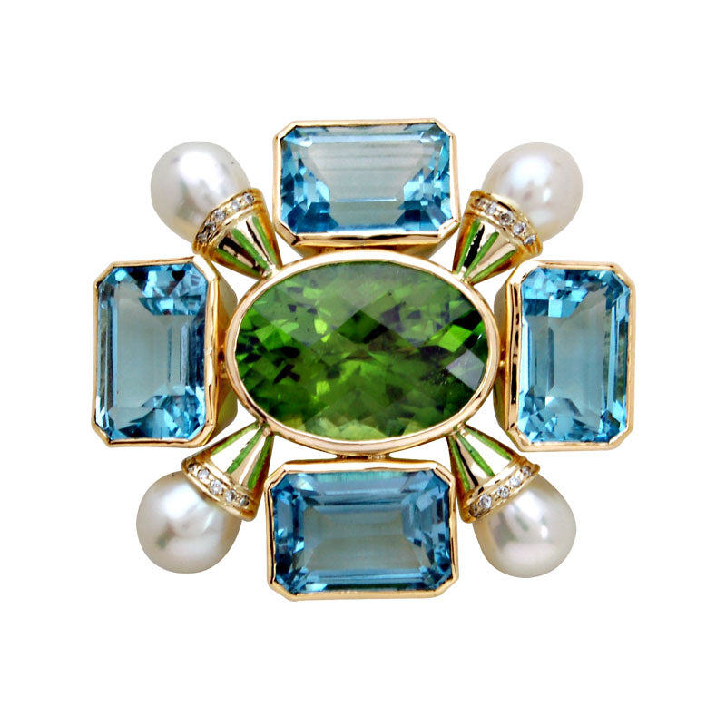 Brooch-Peridot, Blue Topaz, Pearl and Diamond (Enamel)