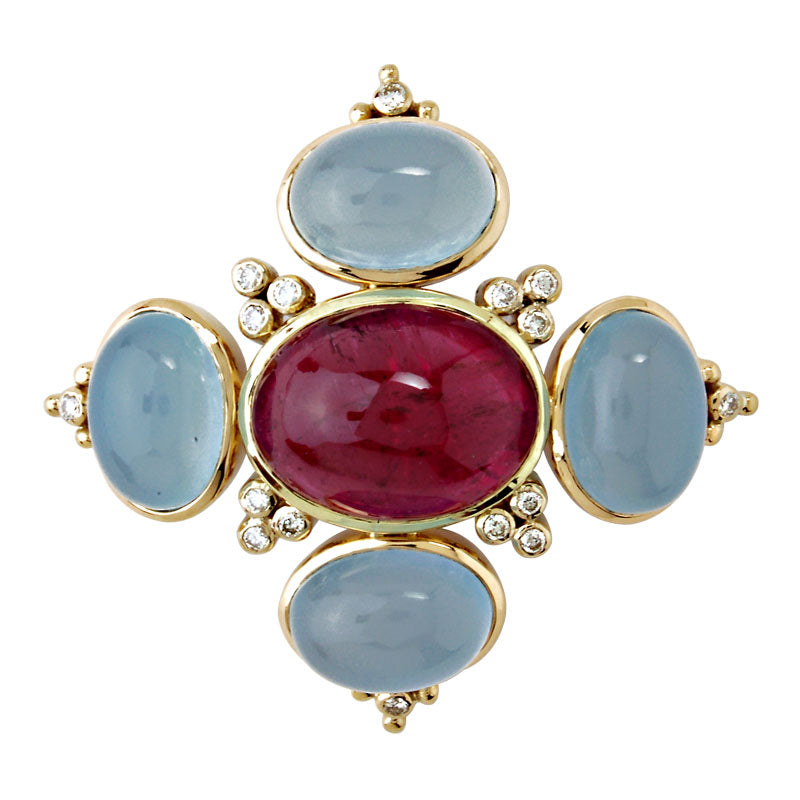 Brooch-Chalcedony, Rubellite and Diamond