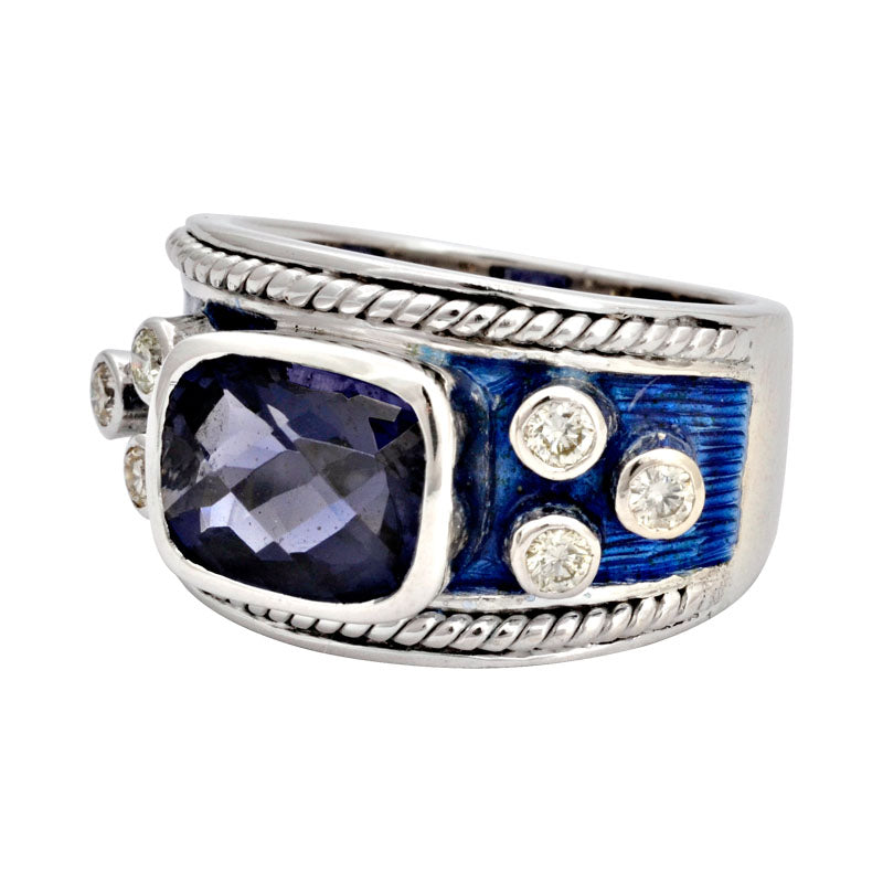 Ring-Iolite and Diamond (Enamel)