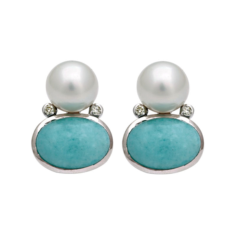 Earrings-Amazonite, South Sea Pearl and Diamond