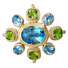 Brooch-Blue Topaz, Peridot and Diamond