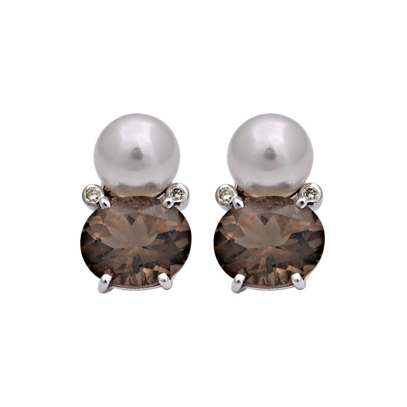 Earrings-Smokey Quartz, South Sea Pearl and Diamond