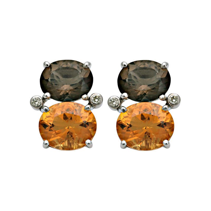Earrings-Smokey Quartz, Citrine and Diamond
