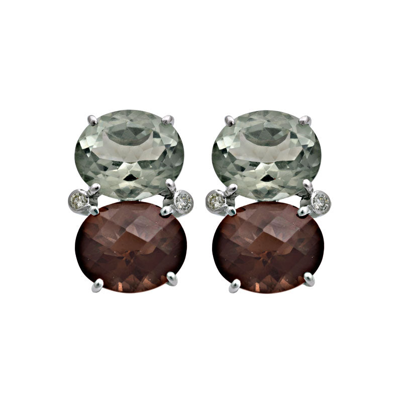 Earrings-Smokey Quartz, Green Quartz and Diamond